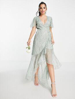 Bruidsmeisjes - Lange jurk met versiering en overslag in saliegroen