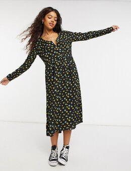 Midi jurk met print-Multikleur