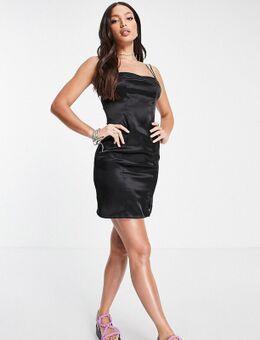 Satijnen mini jurk in zwart