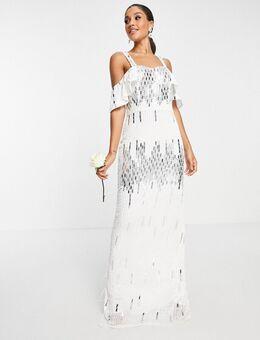 Bruidskleding - Cami jurk met versiering en blote schouder in wit