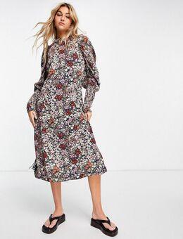 Midi-jurk met pofmouwen en print-Roze