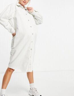 Oversized denim overhemdjurk in wit