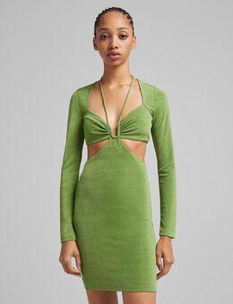 Mini jurk met uitsnijding en vierkante hals in groen