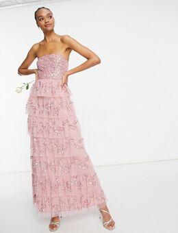 Lange, gelaagde bandeau-jurk met versiering in roze