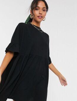 ASOS DESIGN Tall - Super oversized aangerimpelde jurk met ruchemouwen in zwart