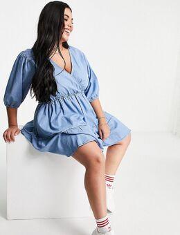 Mini jurk met ballonmouwen in blauwe chambray