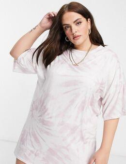 Ruimvallende T-shirtjurk in tie-dye-Paars