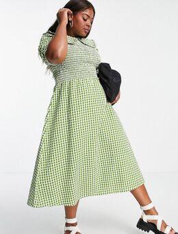 Midi jurk met gesmokt lijfje en oversized kraag in gingham seersucker-Groen