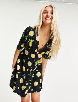 Nette jurk met hoornen knopen en citroenprint-Veelkleurig