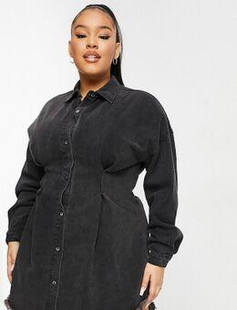 Denim jurk met korsettaille in zwart