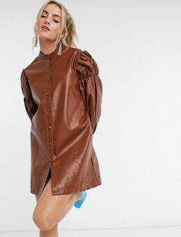 Oversized mini-overhemdjurk met volumineuze mouwen van imitatieleer-Bruin