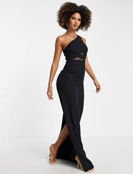 Lange jurk met blote schouder en uitsnijding in zwart