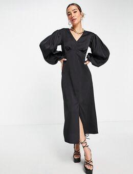 Midi jurk met empirelijn en volumineuze mouwen in zwart