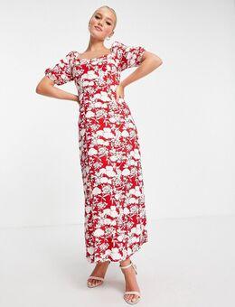 X Jac Jossa - Midi jurk met fladdermouwen, split tot de dij en bloemenprint in rood-Meerkleurig