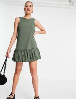 Tall - Mouwloze jurk met V-rug en gepofte zoom in kaki-Groen