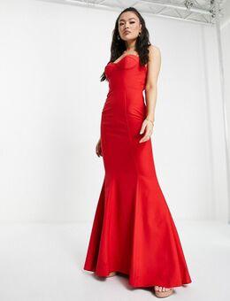 Layla - Lange jurk met open achterkant met gekruiste bandjes in rood