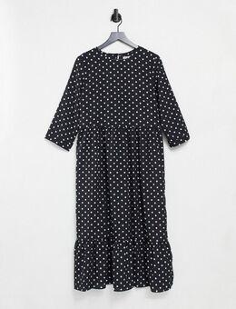 Midi-jurk met stroken en stippen-Zwart