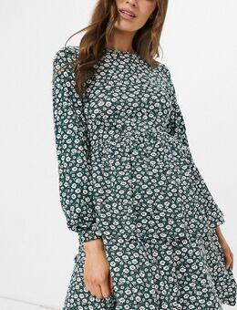 Wednesday's Girl Maternitu - Aangerimpelde jurk met lange mouwen in vintage bloemenprint-Groen