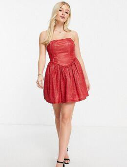 Exclusives - Mini jurk met korset en glitter in rood