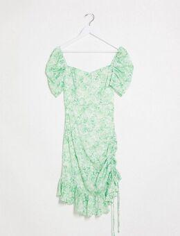 Mini-jurk met pofmouwen in groene bloemenprint