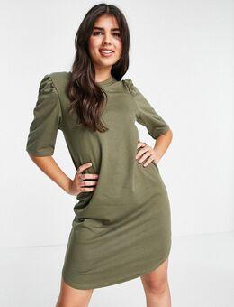 Jersey mini jurk met 3/4e pofmouwen in kalamata groen