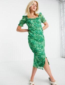 Nette midi jurk van Liberty-stof met groene bloemenprint
