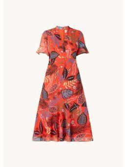 Lara midi jurk met bladprint en V-hals