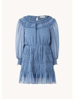 Mini jurk met ruches en stippenprint
