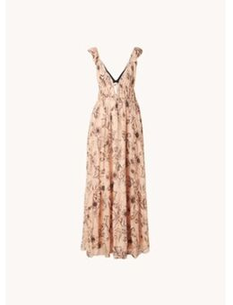 Peach gelaagde maxi jurk met bloemenprint en V-hals