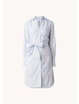 Mini blousejurk met streepprint en strikceintuur