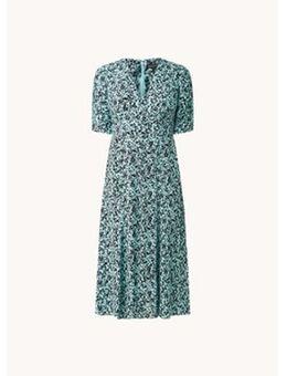 Midi jurk met bloemenprint en sierknopen