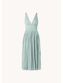 Saffy mouwloze midi jurk met plissé