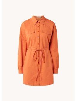 Mini blousejurk met strikceintuur en klepzakken