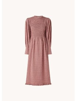 Midi jurk met smockwerk en ruitdessin