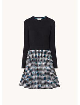 Elif fijngebreide A-lijn jurk met print