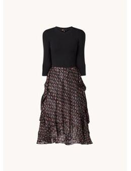 Midi jurk met strikceintuur en print