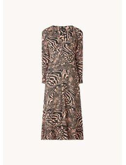 Maxi jurk van crêpe met dierenprint