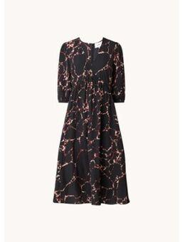 Mosiris midi jurk met halflange mouw en V-hals