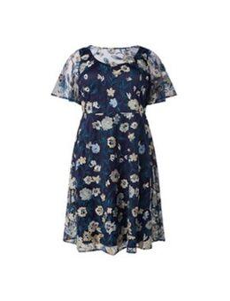Steff midi jurk met overlay van mesh borduring