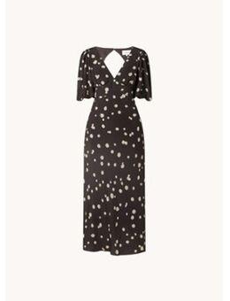 Delize midi jurk met stippenprint en rugdecolleté