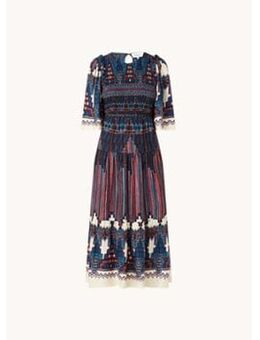 Mandie maxi jurk met smockwerk