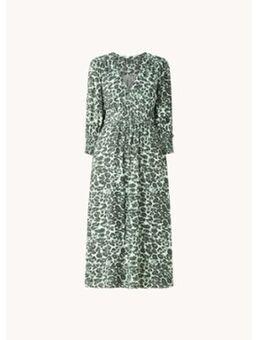 Clouded Leopard Shirred midi jurk met panterprint en strikceintuur