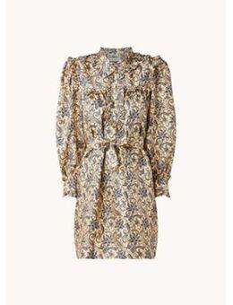 Mini jurk van zijde met paisley print en strikceintuur