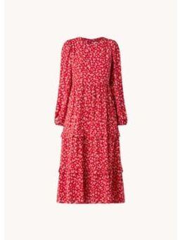 Selma gelaagde midi jurk met bloemenprint en ruches
