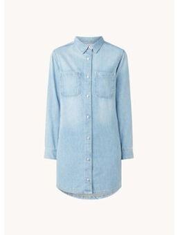 Mini blousejurk van denim met borstzakken