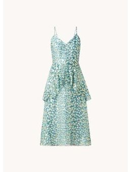 Midi jurk in zijdeblend met print en lurex