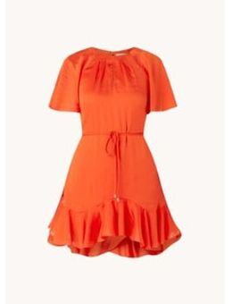 Elsieee mini jurk met strikceintuur en vlindermouw
