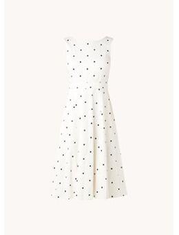 Evelyn midi jurk met stippenprint en steekzakken