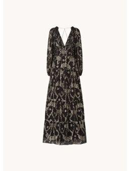 Dina gelaagde maxi jurk met print en lurex