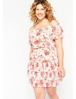 Satijnen korte jurk met bloemen print Offwhite